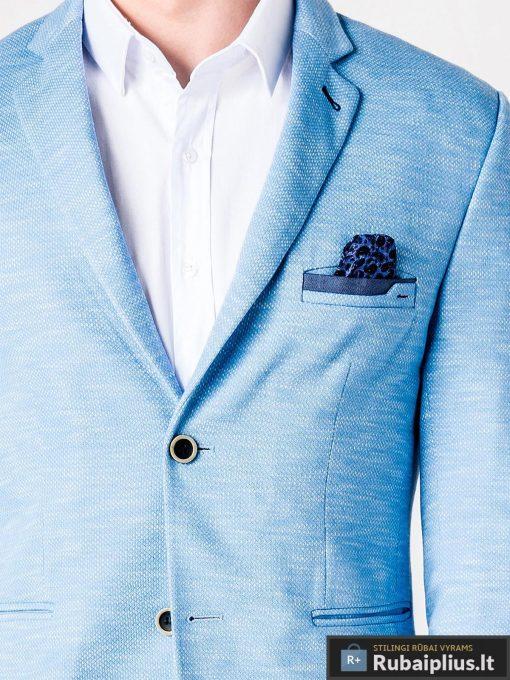Stilingas šviesiai mėlynas vyriškas švarkas bleizeris vyrams internetu pigiau M88SM apykaklė