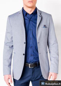 Šviesiai mėlynas vyriškas švarkas bleizeris vyrams internetu pigiau M118SM prasegta