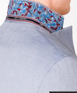 Šviesiai mėlynas vyriškas švarkas bleizeris vyrams internetu pigiau M118SM apykaklė