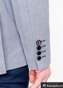 Šviesiai mėlynas vyriškas švarkas bleizeris vyrams internetu pigiau M118SM rankovė