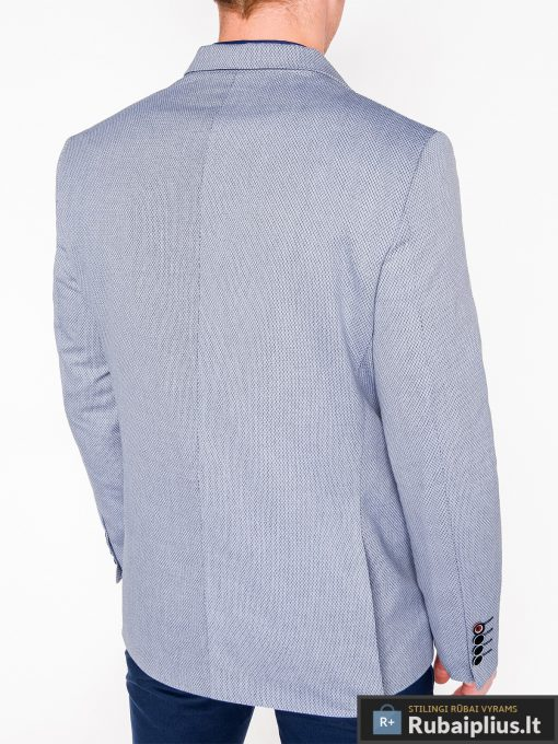 Šviesiai mėlynas vyriškas švarkas bleizeris vyrams internetu pigiau M118SM nugara