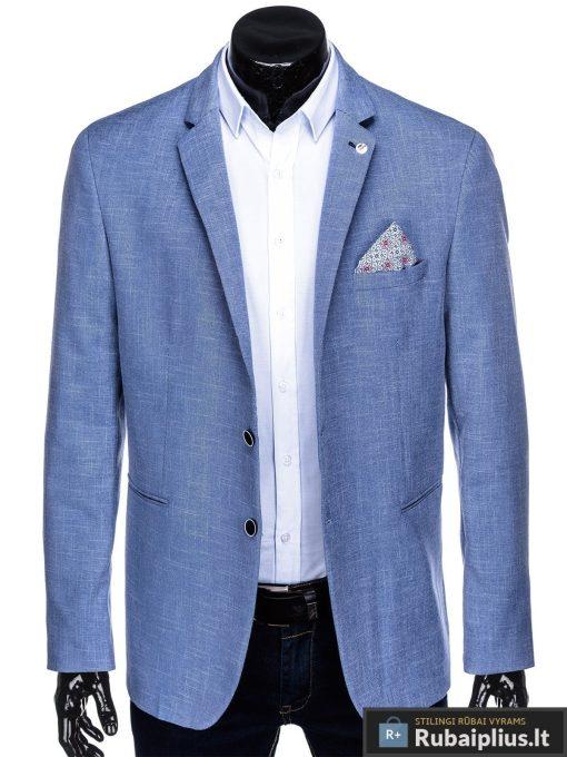 Dideliu dydžiu šviesiai mėlynas vyriškas švarkas vyrams internetu pigiau M126STM prasegtas