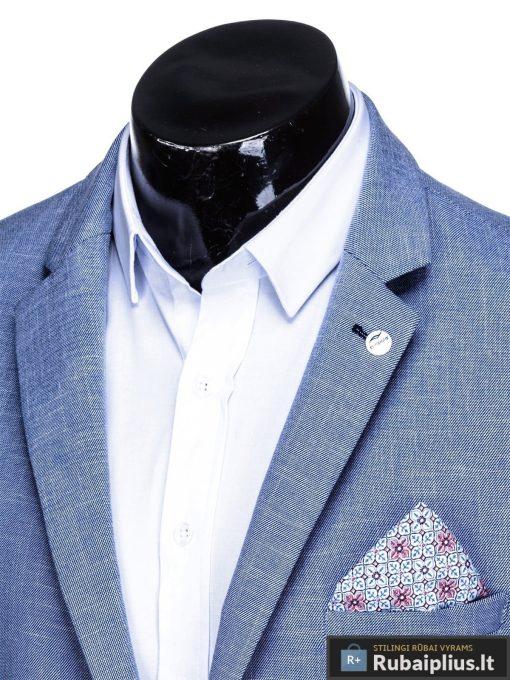 Dideliu dydžiu šviesiai mėlynas vyriškas švarkas vyrams internetu pigiau M126STM apykaklė