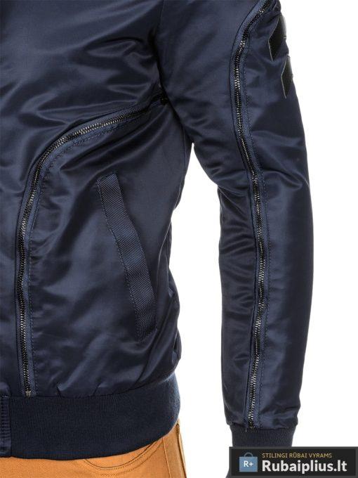 Vyriska tamsiai mėlyna striukė vyrams bomber internetu pigiau C332TM šonas