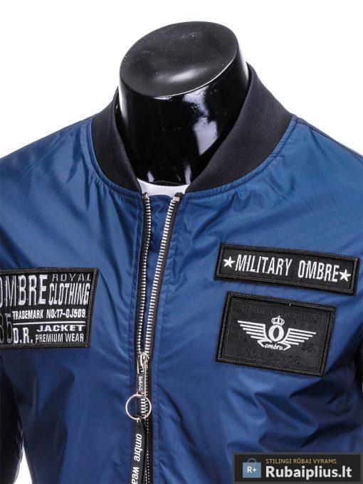 Vyriska pavasarine tamsiai mėlyna striukė vyrams bomber internetu pigiau C350TM apykaklė