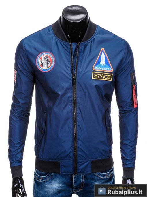 Vyriska pavasarine tamsiai mėlyna striukė vyrams bomber internetu pigiau C351TM priekis