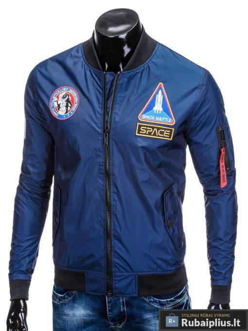 Vyriska pavasarine tamsiai mėlyna striukė vyrams bomber internetu pigiau C351TM kairė
