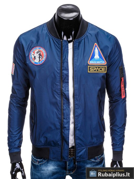 Vyriska pavasarine tamsiai mėlyna striukė vyrams bomber internetu pigiau C351TM prasegta