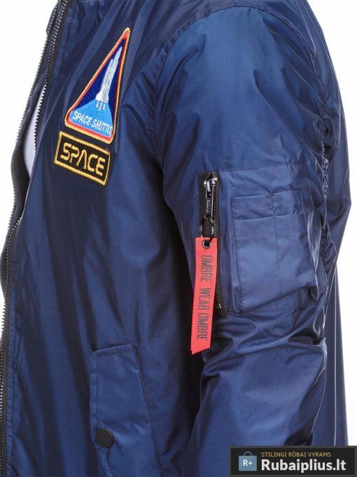 Vyriska pavasarine tamsiai mėlyna striukė vyrams bomber internetu pigiau C351TM kišenė