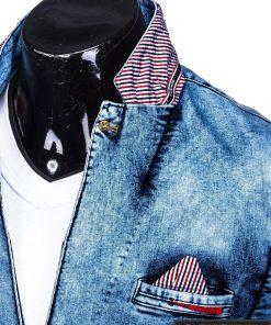 Džinsinis vyriškas švarkas bleizeris vyrams internetu pigiau M117TJEANS apykaklė kaip nosinaitė