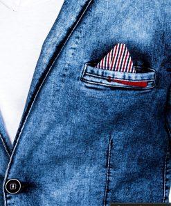 Džinsinis vyriškas švarkas bleizeris vyrams internetu pigiau M117TJEANS nosinaitė