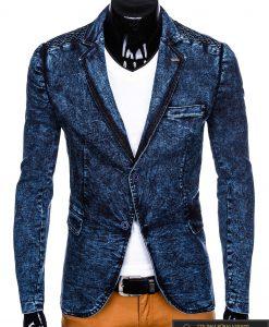 Stilingas tamsiai mėlynas džinsinis vyriškas švarkas bleizeris vyrams internetu pigiau M113TJEANS priekis