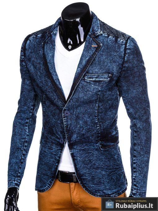 Stilingas tamsiai mėlynas džinsinis vyriškas švarkas bleizeris vyrams internetu pigiau M113TJEANS kairė