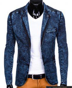 Stilingas tamsiai mėlynas džinsinis vyriškas švarkas bleizeris vyrams internetu pigiau M113TJEANS prasegtas