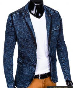 Stilingas tamsiai mėlynas džinsinis vyriškas švarkas bleizeris vyrams internetu pigiau M113TJEANS dešinė
