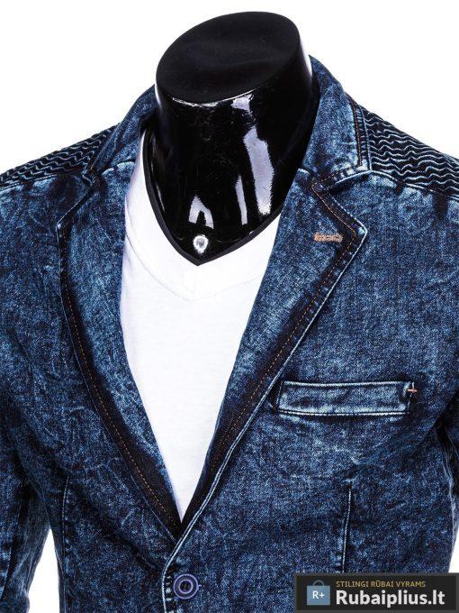 Stilingas tamsiai mėlynas džinsinis vyriškas švarkas bleizeris vyrams internetu pigiau M113TJEANS apykaklė
