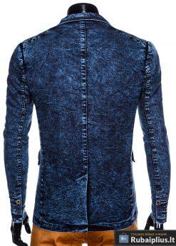 Stilingas tamsiai mėlynas džinsinis vyriškas švarkas bleizeris vyrams internetu pigiau M113TJEANS nugara