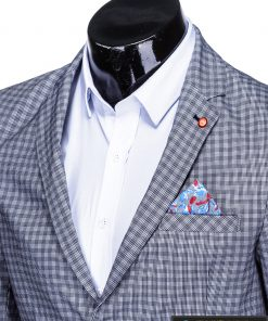 Stilingas tamsiai mėlynas languotas vyriškas švarkas bleizeris vyrams internetu pigiau M79TM apykaklė