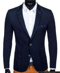 Stilingas tamsiai mėlynas vyriškas švarkas bleizeris vyrams internetu pigiau M76TM priekis