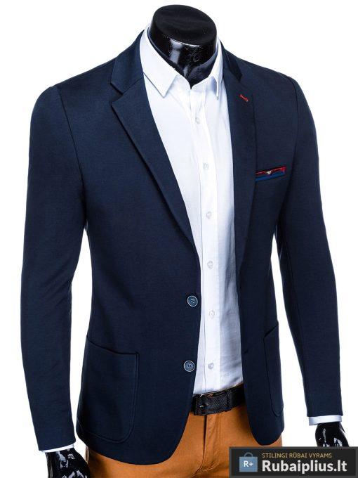 Stilingas tamsiai mėlynas vyriškas švarkas bleizeris vyrams internetu pigiau M76TM dešinė
