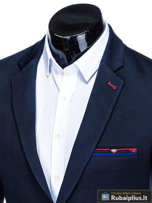 Stilingas tamsiai mėlynas vyriškas švarkas bleizeris vyrams internetu pigiau M76TM apykaklė