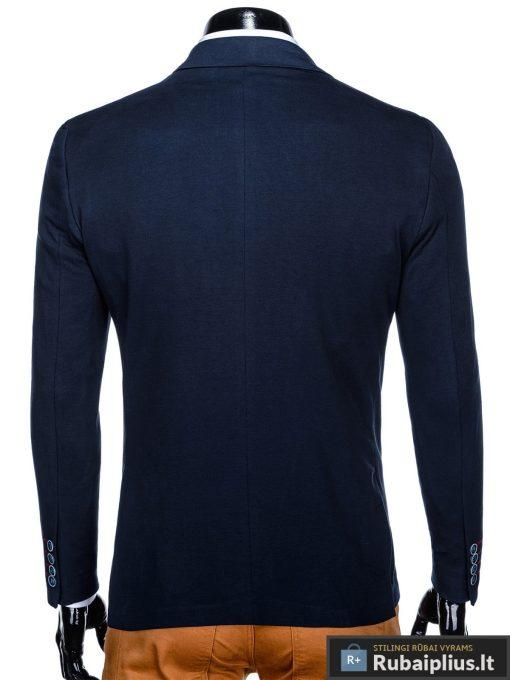 Stilingas tamsiai mėlynas vyriškas švarkas bleizeris vyrams internetu pigiau M76TM nugara
