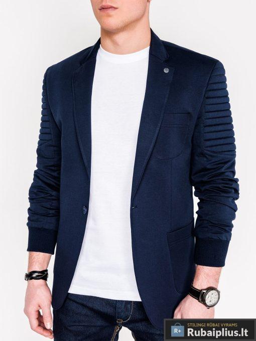 Stilingas tamsiai mėlynas vyriškas švarkas vyrams internetu pigiau M73TM priekis