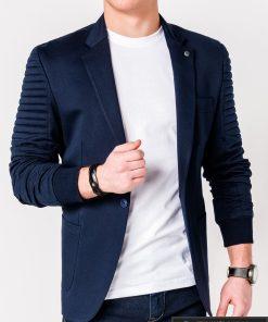 Stilingas tamsiai mėlynas vyriškas švarkas bleizeris vyrams internetu pigiau M73TM kairė