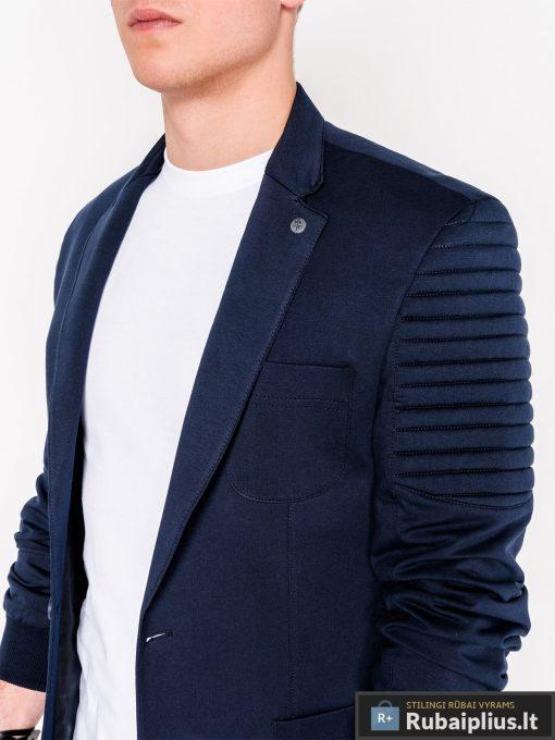 Stilingas tamsiai mėlynas vyriškas švarkas bleizeris vyrams internetu pigiau M73TM apykaklė