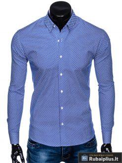 Tamsiai mėlyni taškuoti vyriški marškiniai ilgomis rankovėmis vyrams internetu pigiau K457TM priekis