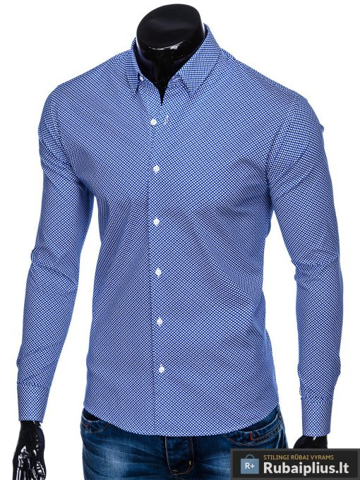 Tamsiai mėlyni taškuoti vyriški marškiniai ilgomis rankovėmis vyrams internetu pigiau K457TM kairė