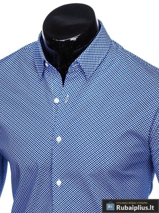 Tamsiai mėlyni taškuoti vyriški marškiniai ilgomis rankovėmis vyrams internetu pigiau K457TM apykaklė