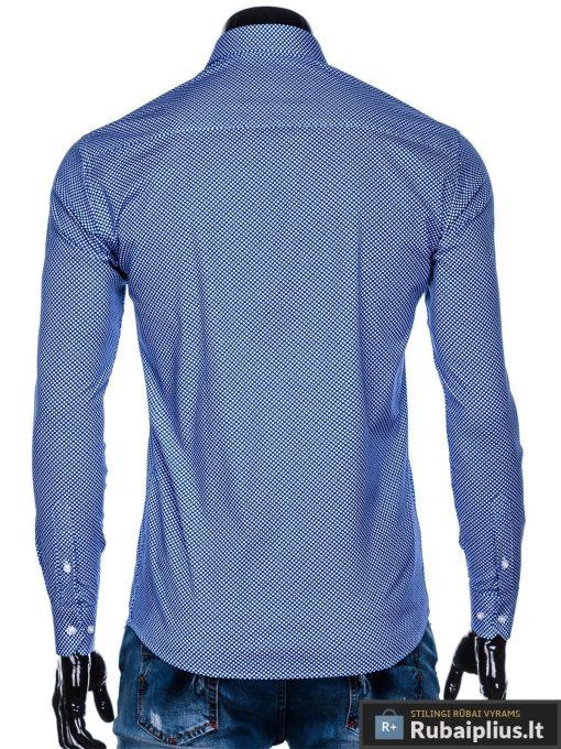 Tamsiai mėlyni taškuoti vyriški marškiniai ilgomis rankovėmis vyrams internetu pigiau K457TM nugara