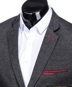Stilingas tamsiai pilkas vyriškas švarkas bleizeris vyrams internetu pigiau M78TP apykaklė