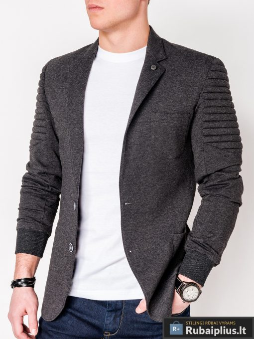 Stilingas tamsiai pilkas vyriškas švarkas bleizeris vyrams internetu pigiau M73TP priekis