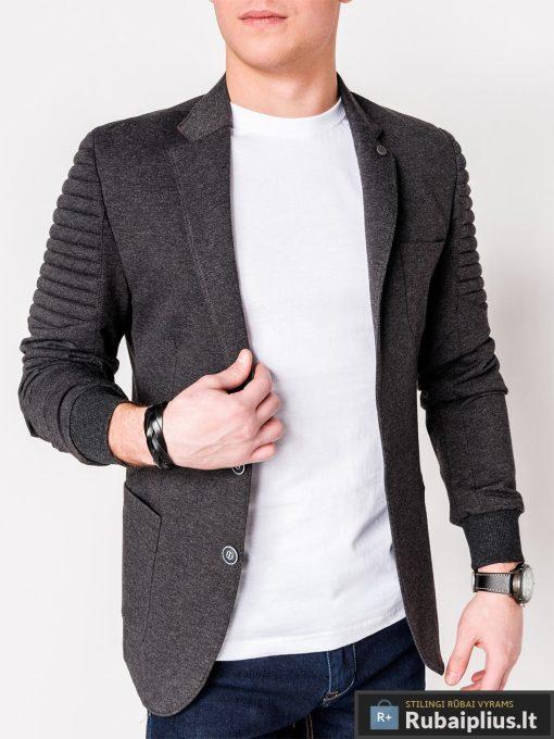 Stilingas tamsiai pilkas vyriškas švarkas bleizeris vyrams internetu pigiau M73TP kairė
