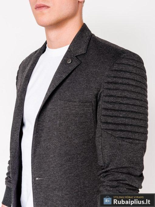 Stilingas tamsiai pilkas vyriškas švarkas bleizeris vyrams internetu pigiau M73TP apykaklė