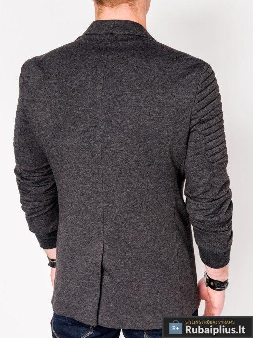 Stilingas tamsiai pilkas vyriškas švarkas bleizeris vyrams internetu pigiau M73TP nugara