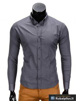 Klasikiniai vyriski tamsiai pilki marškiniai vyrams ilgomis rankovėmis internetu pigiau K219TP priekis