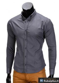 Klasikiniai vyriski tamsiai pilki marškiniai vyrams ilgomis rankovėmis internetu pigiau K219TP kairė