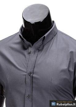 Klasikiniai vyriski tamsiai pilki marškiniai vyrams ilgomis rankovėmis internetu pigiau K219TP apykaklė