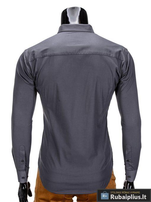 Klasikiniai vyriski tamsiai pilki marškiniai vyrams ilgomis rankovėmis internetu pigiau K219TP nugara