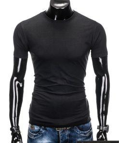 Vyriski vienspalviai juodi marškinėliai vyrams internetu pigiau S884J priekis