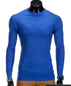 Vienspalviai mėlyni vyriški marškinėliai ilgomis rankovėmis vyrams internetu pigiau L59M priekis