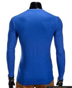 Vienspalviai mėlyni vyriški marškinėliai ilgomis rankovėmis vyrams internetu pigiau L59M nugara