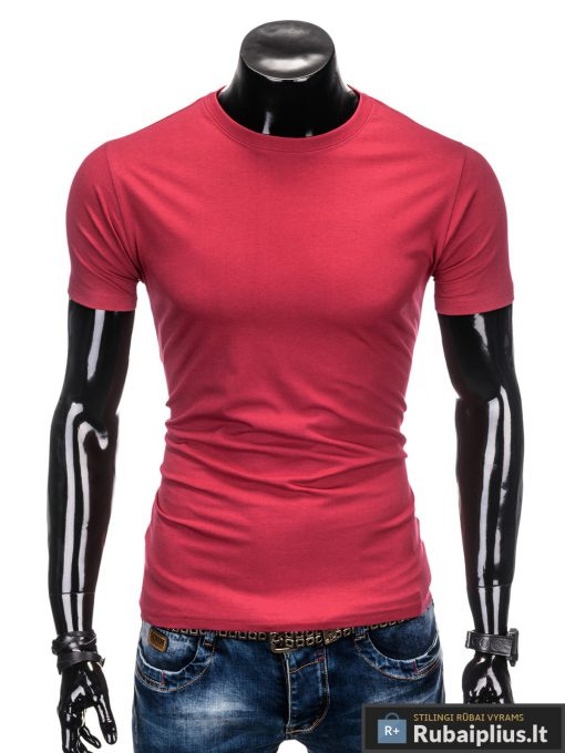 Vyriski vienspalviai raudoni melanžiniai marškinėliai vyrams internetu pigiau S884RM priekis