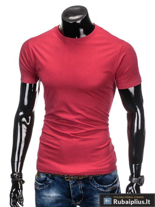 Vyriski vienspalviai raudoni melanžiniai marškinėliai vyrams internetu pigiau S884RM kairė