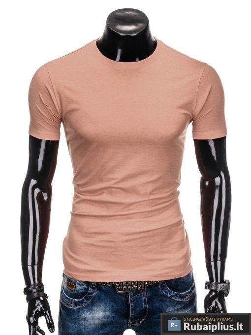 Vyriski vienspalviai šviesiai rožiniai marškinėliai vyrams internetu pigiau S884SROZ priekis