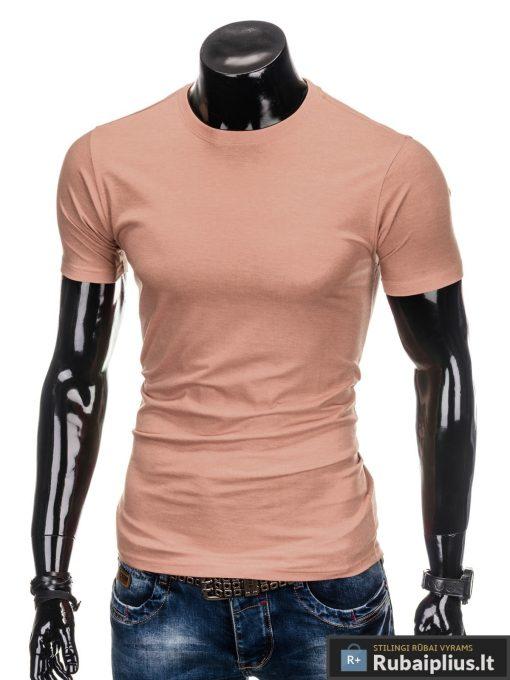 Vyriski vienspalviai šviesiai rožiniai marškinėliai vyrams internetu pigiau S884SROZ kairė