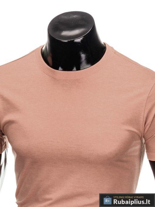 Vyriski vienspalviai šviesiai rožiniai marškinėliai vyrams internetu pigiau S884SROZ apykaklė